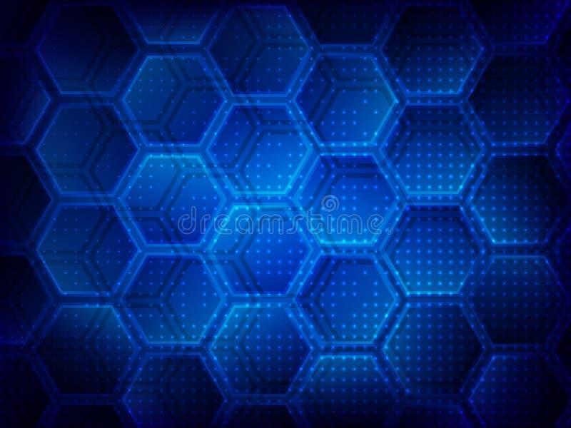 Ανασκόπηση με hexagons Ψηφιακή έννοια τεχνολογίας υψηλής τεχνολογίας αφηρημένη ανασκόπηση επίσης corel σύρετε το διάνυσμα απεικόν διανυσματική απεικόνιση