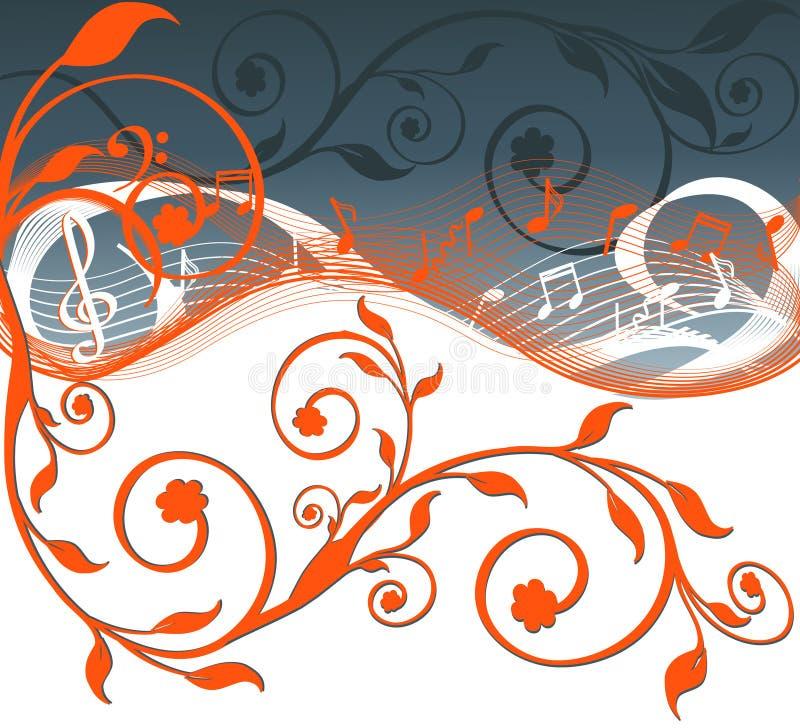 Ανασκόπηση μουσικής με τις σημειώσεις και τα λουλούδια. ελεύθερη απεικόνιση δικαιώματος