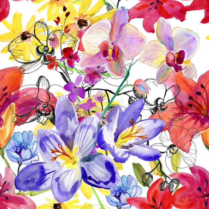 ανασκόπηση που σύρει το floral άνευ ραφής διάνυσμα λουλουδιών Χρωματισμένη χέρι ζωγραφική watercolor ελεύθερη απεικόνιση δικαιώματος