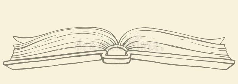 ανασκόπηση που σύρει το floral διάνυσμα χλόης Ανοικτό βιβλίο στο hardcover διανυσματική απεικόνιση