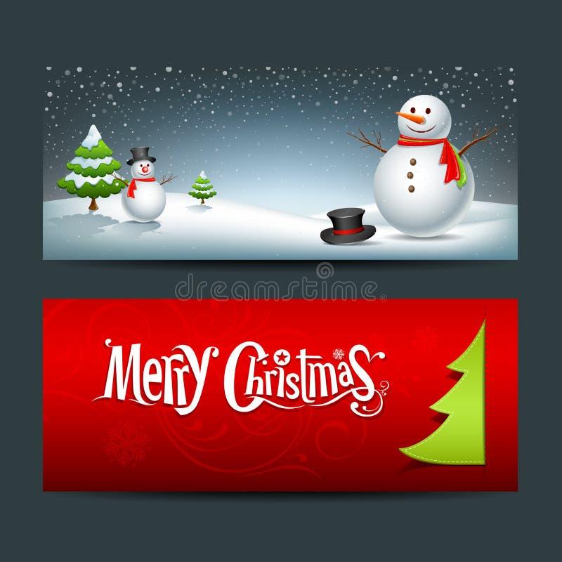 Ανασκόπηση σχεδίου εμβλημάτων Καλών Χριστουγέννων διανυσματική απεικόνιση