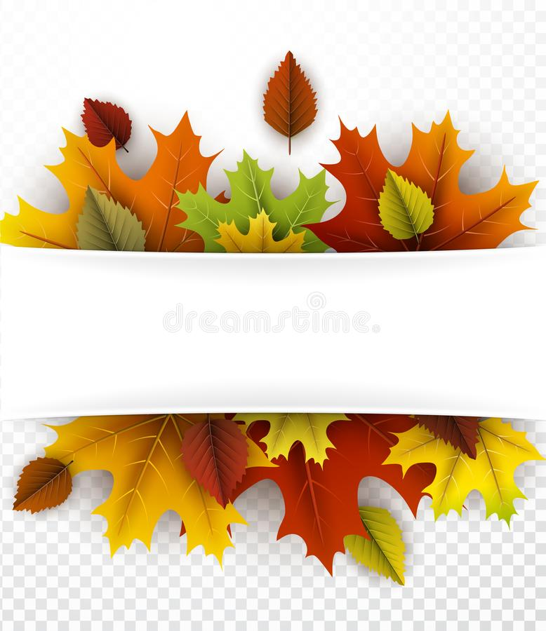 Ανασκόπηση φθινοπώρου με τα ζωηρόχρωμα φύλλα διανυσματική απεικόνιση