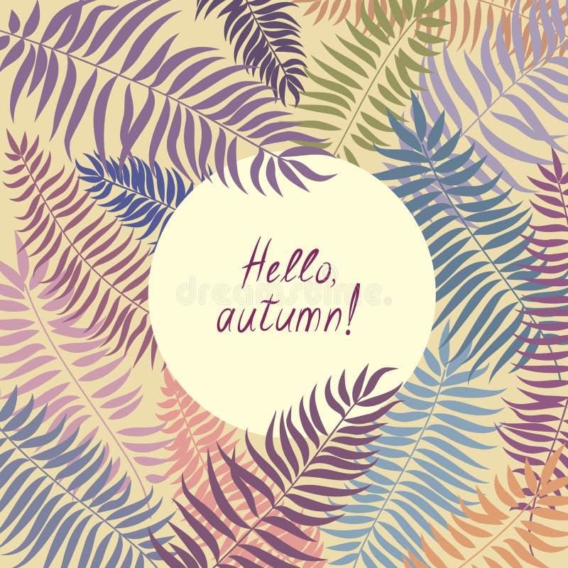 Ανασκόπηση φύλλων φθινοπώρου πίσω σχολείο καρτών Floral φύλλο bord διανυσματική απεικόνιση