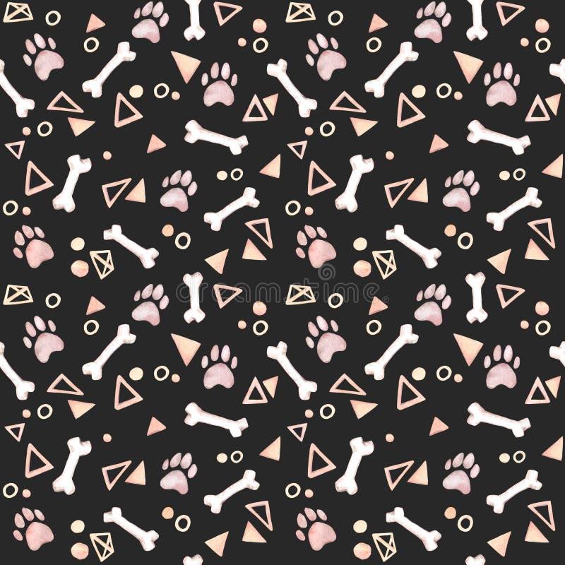ανασκόπηση χαριτωμένη Συρμένο χέρι άνευ ραφής σχέδιο watercolor - σκυλί PA διανυσματική απεικόνιση