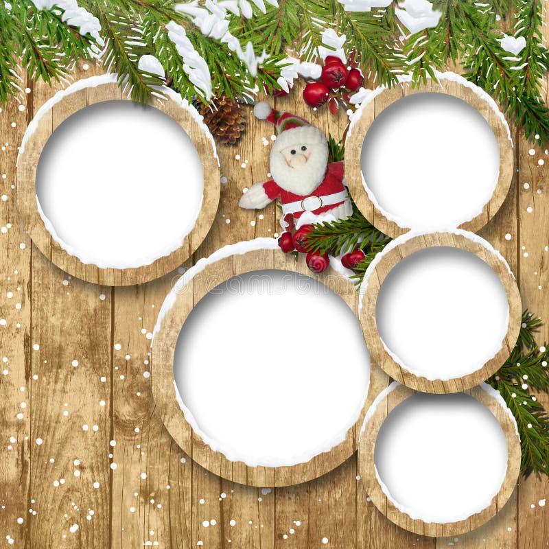 Ανασκόπηση Χριστουγέννων με τα πλαίσια και Santa στοκ εικόνα με δικαίωμα ελεύθερης χρήσης