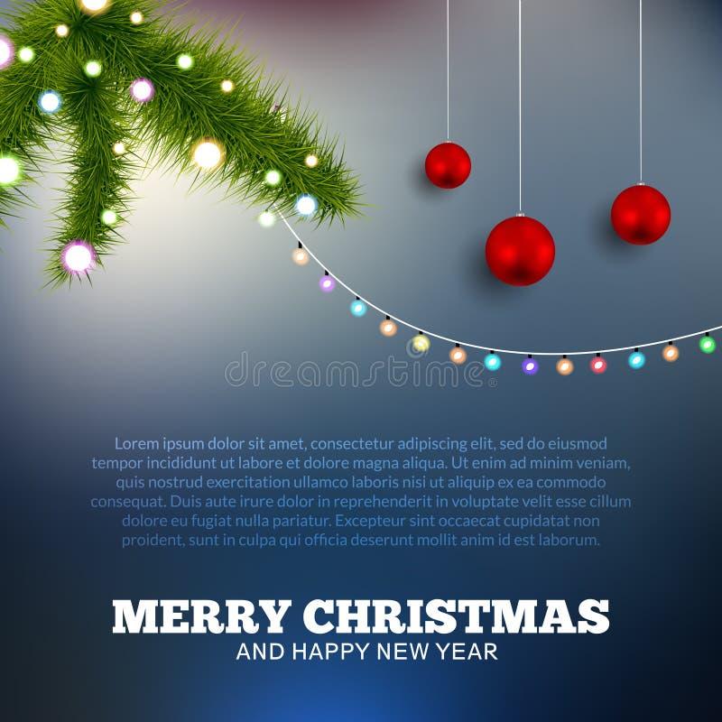 Ανασκόπηση Χριστουγέννων με τα φω'τα χριστουγεννιάτικο δέντρ&om ελεύθερη απεικόνιση δικαιώματος