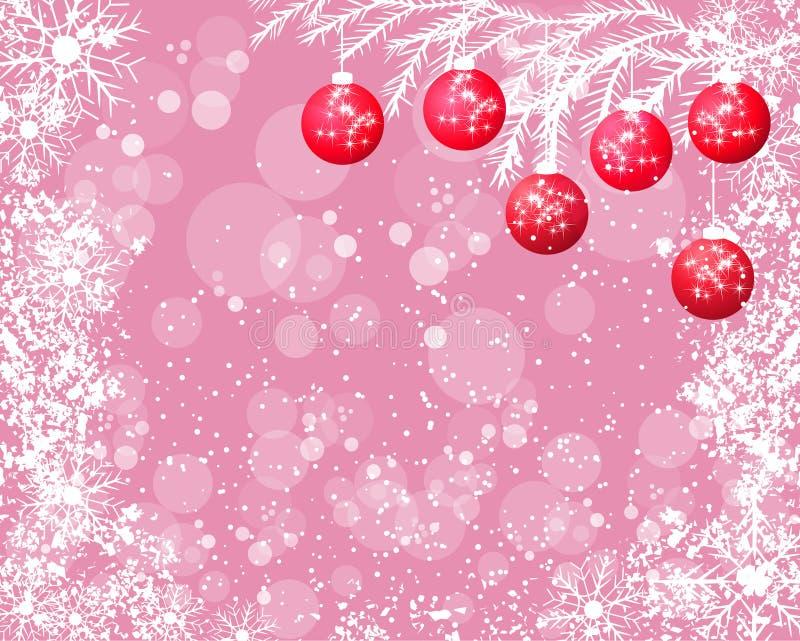 Ανασκόπηση Χριστουγέννων με τις σφαίρες διανυσματική απεικόνιση