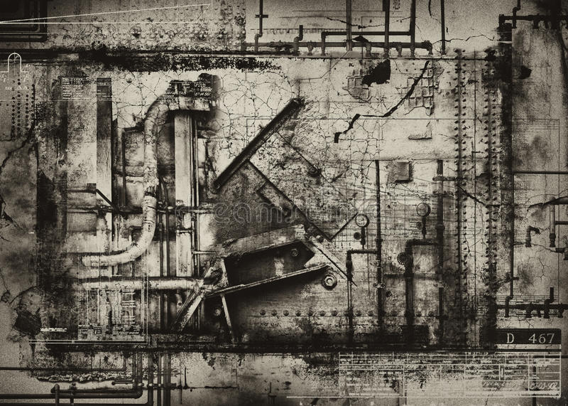 ανασκόπηση grunge βιομηχανική ελεύθερη απεικόνιση δικαιώματος