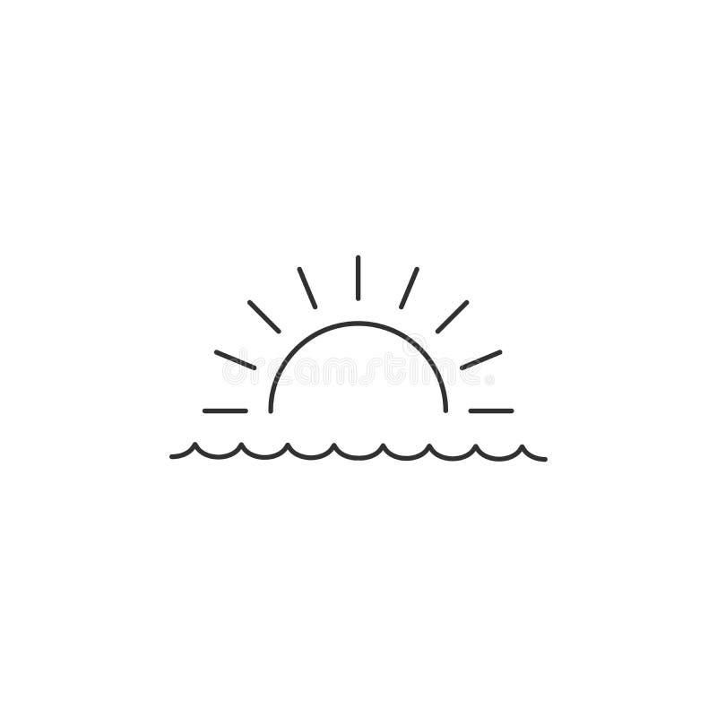 Ανατολή ή ηλιοβασίλεμα πέρα από το γραμμικό ελάχιστο ενιαίο επίπεδο εικονίδιο θάλασσας Διανυσματικό εικονίδιο θάλασσας και γραμμώ διανυσματική απεικόνιση