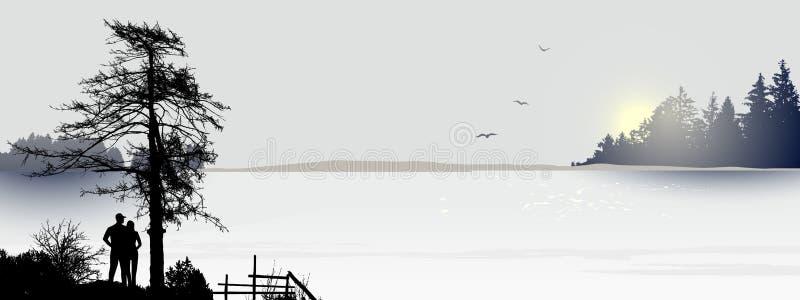 Ανατολή ή sunseton η λίμνη και ένα ζεύγος απεικόνιση αποθεμάτων