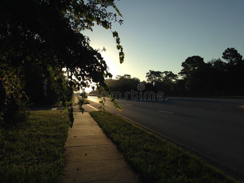 Ανατολή επάνω από το δρόμο τις ανοίξεις Altamonte, κομητεία Seminole στη Φλώριδα το καλοκαίρι στοκ φωτογραφίες με δικαίωμα ελεύθερης χρήσης