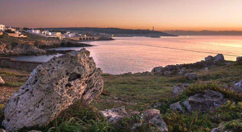 Ανατολή θαλασσίως στη Σάντα Μαρία Di Leuca στοκ φωτογραφία με δικαίωμα ελεύθερης χρήσης