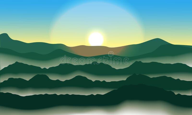 Ανατολή και υδρονέφωση στα βουνά ελεύθερη απεικόνιση δικαιώματος