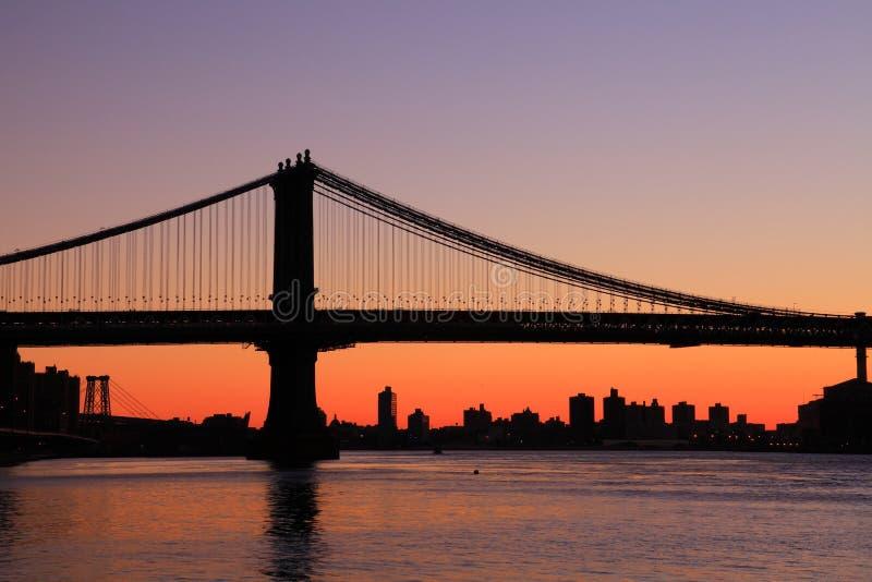 Ανατολή Νέα Υόρκη γεφυρών του Μανχάταν στοκ φωτογραφία με δικαίωμα ελεύθερης χρήσης