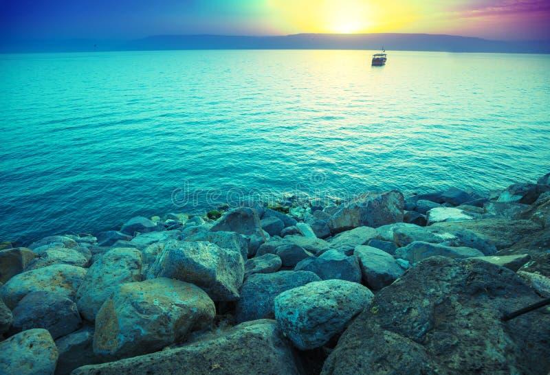 Ανατολή πέρα από τη θάλασσα Galilee στοκ φωτογραφία με δικαίωμα ελεύθερης χρήσης