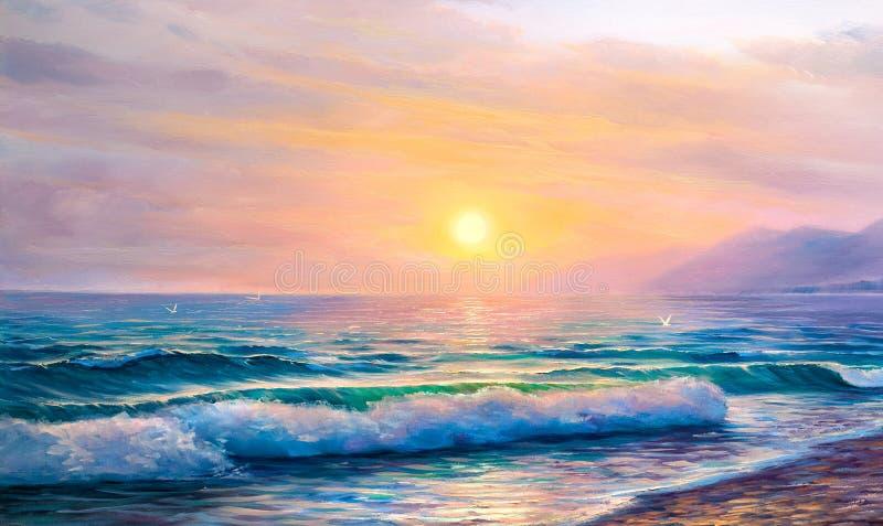 Ανατολή πέρα από τη θάλασσα Seascape ζωγραφικής διανυσματική απεικόνιση