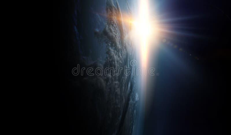 Ανατολή στην τροχιά πλανητών, διαστημική ομορφιά στοκ εικόνες