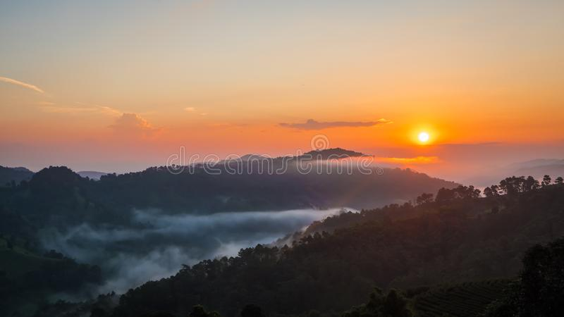 Ανατολή στο βουνό σε Doi Mae Salong Mae Fah Luang, Chiang Rai Ταϊλάνδη στοκ εικόνες