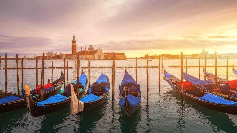 Ανατολή στο τετράγωνο SAN Marco, Βενετία, Ιταλία κανάλι μεγάλη Βενετία στοκ εικόνα με δικαίωμα ελεύθερης χρήσης