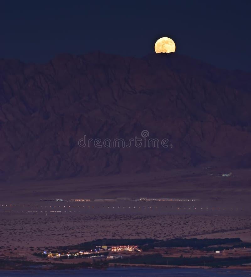 Ανατολή του φεγγαριού στην έρημο Arava στοκ εικόνα με δικαίωμα ελεύθερης χρήσης
