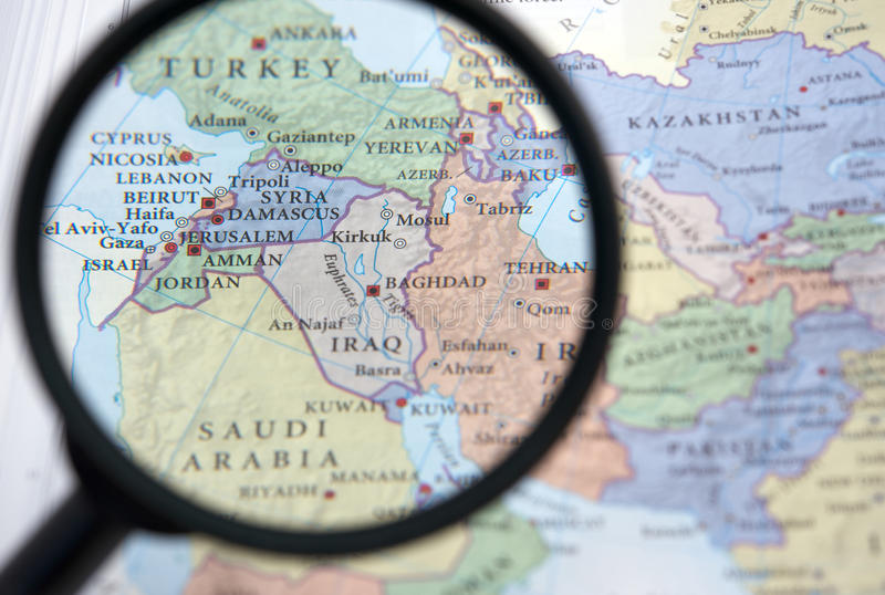 ανατολικός χάρτης μέση Συρία στοκ εικόνες
