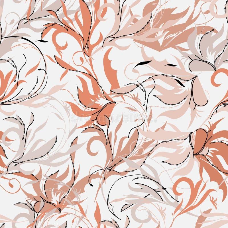 Ανατολικό αφηρημένο άνευ ραφής σχέδιο Άπειρες συστάσεις του ρόδινου χρώματος Ινδική διακόσμηση για να διακοσμήσει τα υφάσματα, τα διανυσματική απεικόνιση