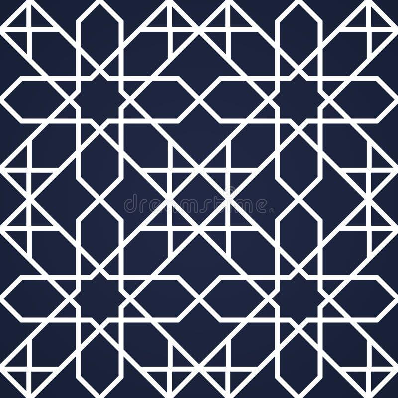ανατολικό πρότυπο άνευ ρα& Ασιατικό γεωμετρικό υπόβαθρο Σκοτεινό και άσπρο ισλαμικό σκηνικό Αραβικό διακοσμητικό σχέδιο προτύπων  διανυσματική απεικόνιση