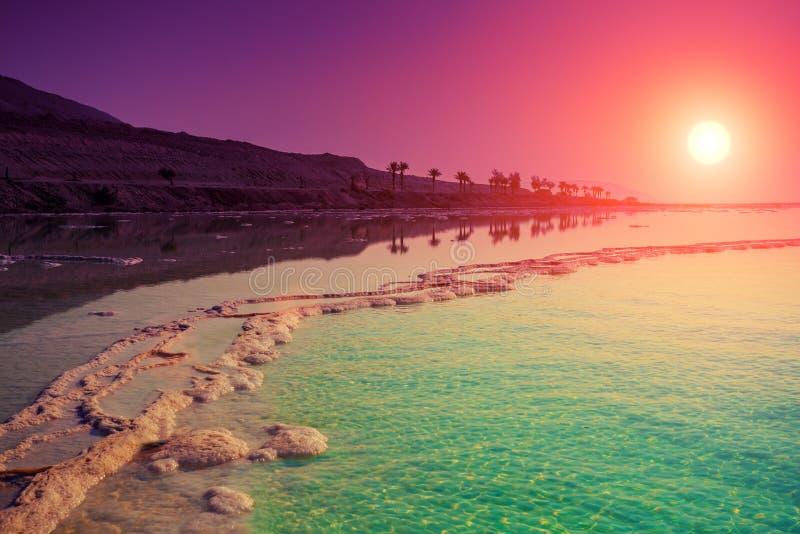 Ανατολή πέρα από τη νεκρή θάλασσα στοκ φωτογραφία