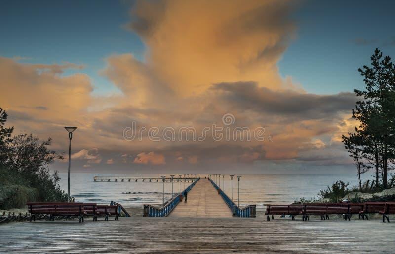 Ανατολή στη θάλασσα της Βαλτικής, Palanga στοκ εικόνες
