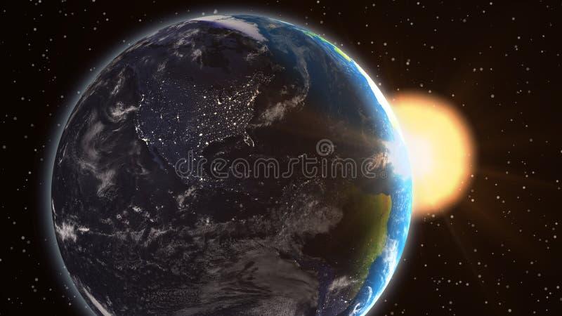 Ανατολή της γήινης Βόρειας Αμερικής εγκαταστάσεων από το διάστημα ελεύθερη απεικόνιση δικαιώματος