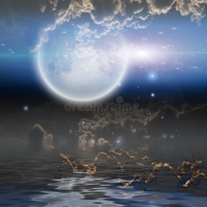 Ανατολή του φεγγαριού πέρα από το νερό απεικόνιση αποθεμάτων