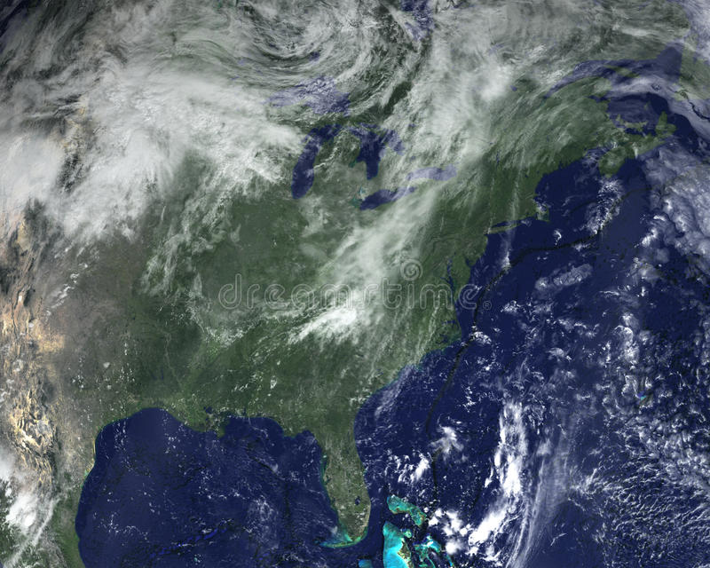 Ανατολικές Ηνωμένες Πολιτείες, διαστημικός δορυφόρος στοκ φωτογραφίες