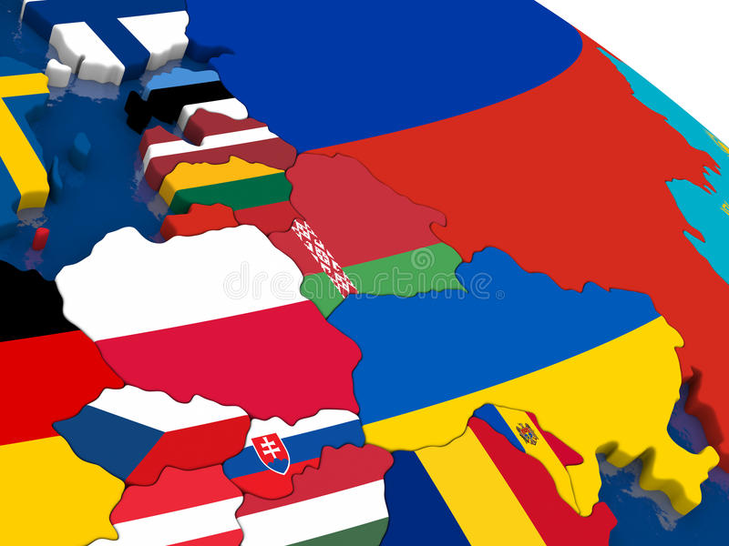 Ανατολική Ευρώπη στον τρισδιάστατο χάρτη με τις σημαίες ελεύθερη απεικόνιση δικαιώματος
