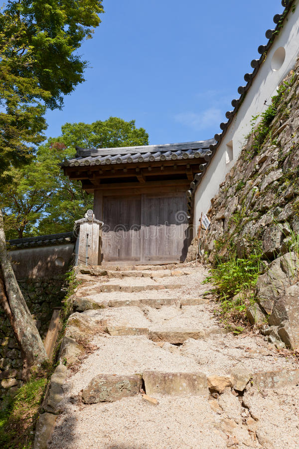 Ανατολική πύλη του κάστρου Bitchu Ματσουγιάμα, Takahashi, Ιαπωνία στοκ εικόνες