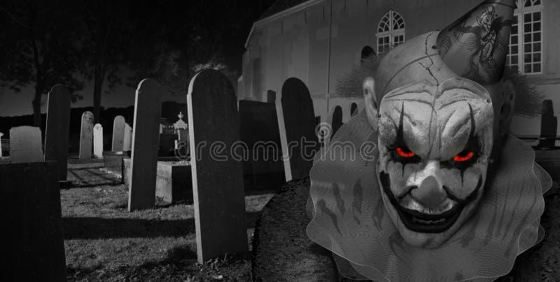 Ανατριχιαστικός κλόουν φρίκης στο νεκροταφείο διανυσματική απεικόνιση