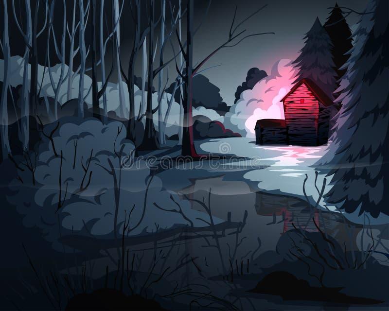 Ανατριχιαστικό δασικό τοπίο με τα δέντρα, το έλος, το παλαιά σπίτι και το κόκκινο φως στο παράθυρο Μυστήριο υπόβαθρο τοπίου διανυσματική απεικόνιση
