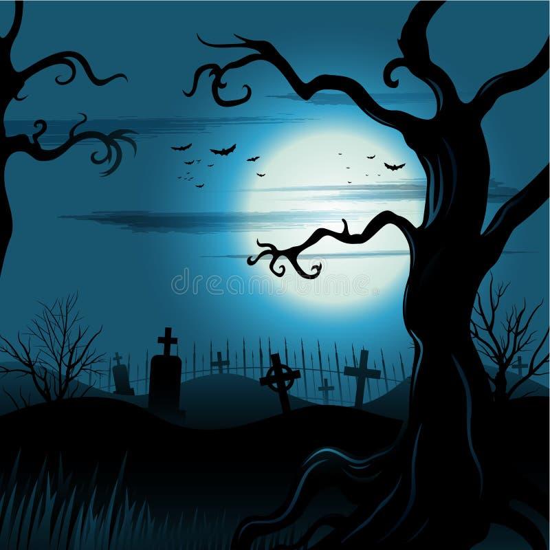 Ανατριχιαστικό υπόβαθρο αποκριών δέντρων με τη πανσέληνο ελεύθερη απεικόνιση δικαιώματος
