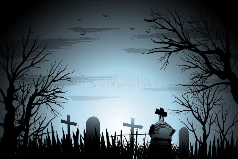 Ανατριχιαστικό υπόβαθρο αποκριών νεκροταφείων με το δέντρο και ταφόπετρα αναμμένη πίσω διανυσματική απεικόνιση