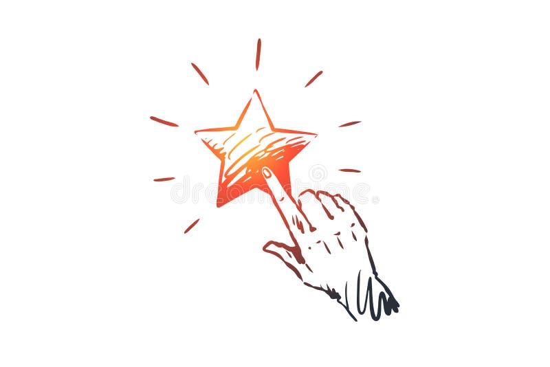 Ανατροφοδότηση, αστέρι, υπηρεσία, ποιότητα, έννοια σημαδιών Συρμένο χέρι απομονωμένο διάνυσμα ελεύθερη απεικόνιση δικαιώματος