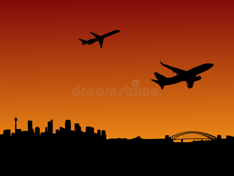 αναχωρώντας αεροπλάνα Σύδνεϋ απεικόνιση αποθεμάτων