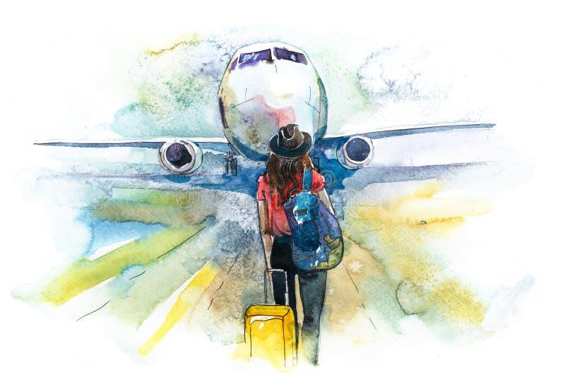αναχώρηση Αεροπλάνο ταξιδιωτικής τροφής γυναικών, οπισθοσκόπο Κορίτσι σε έναν αερολιμένα για να επιβιβαστεί περίπου σε ένα αεροσκ ελεύθερη απεικόνιση δικαιώματος