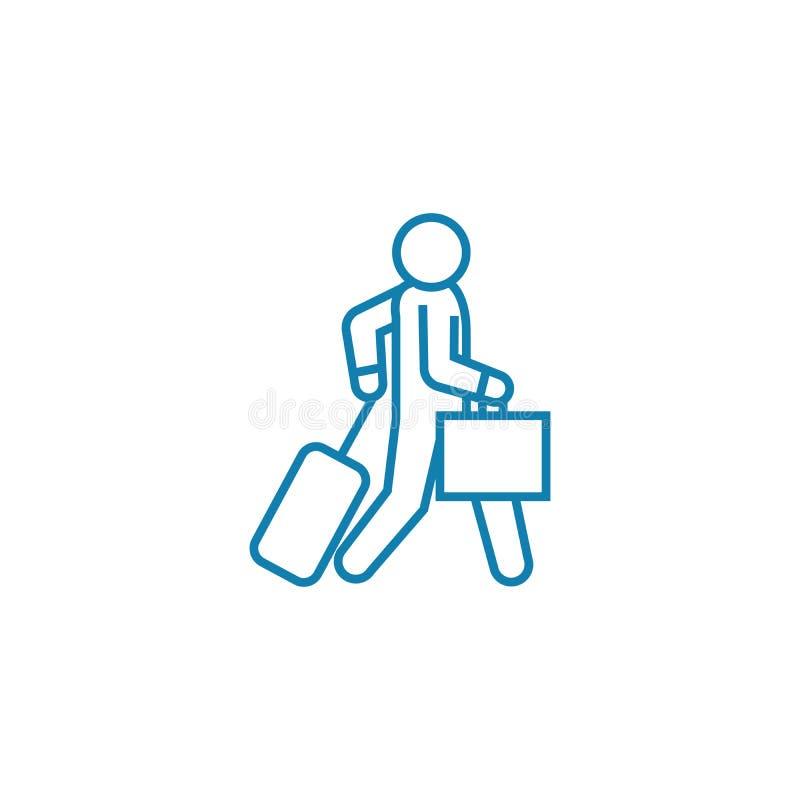 Αναχώρηση σε μια γραμμική έννοια εικονιδίων ταξιδιού Αναχώρηση σε ένα διανυσματικό σημάδι γραμμών ταξιδιού, σύμβολο, απεικόνιση απεικόνιση αποθεμάτων