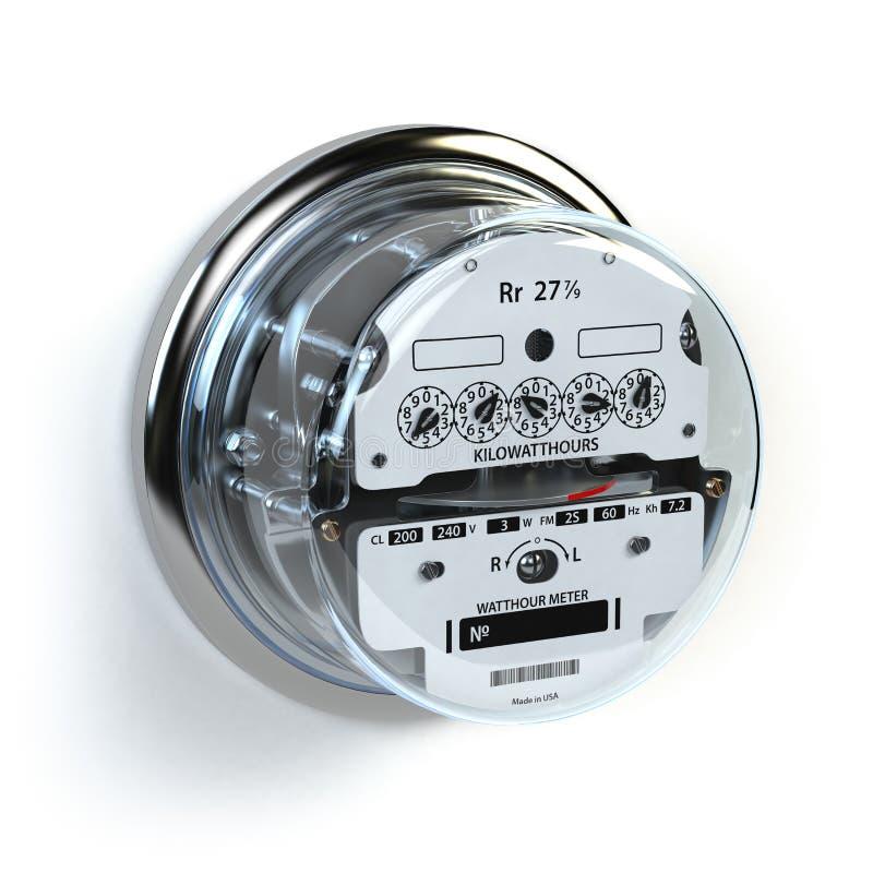 Αναλογικός ηλεκτρικός μετρητής στο λευκό Consumptio ηλεκτρικής ενέργειας ελεύθερη απεικόνιση δικαιώματος