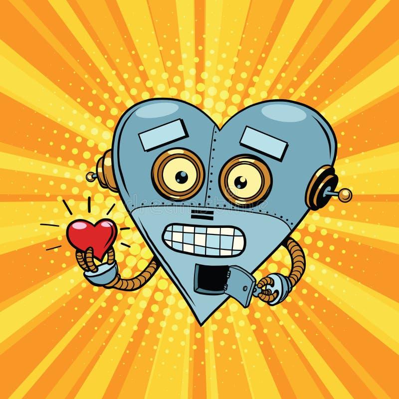 Αναδρομικά αγάπη και ειδύλλιο βαλεντίνων καρδιών ρομπότ ελεύθερη απεικόνιση δικαιώματος