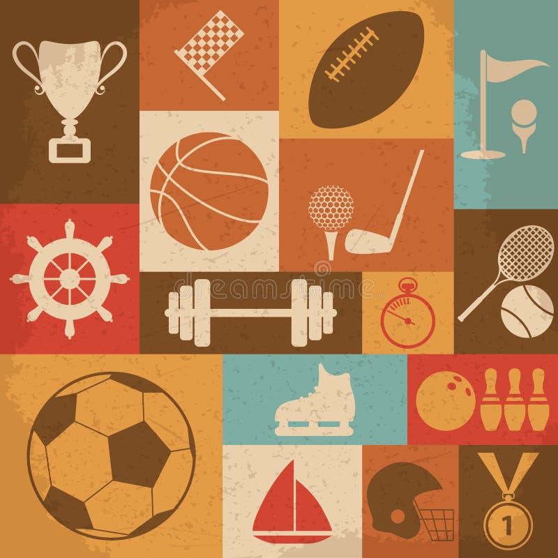 Αναδρομικά αθλητικά εικονίδια επίσης corel σύρετε το διάνυσμα απεικόνισης διανυσματική απεικόνιση