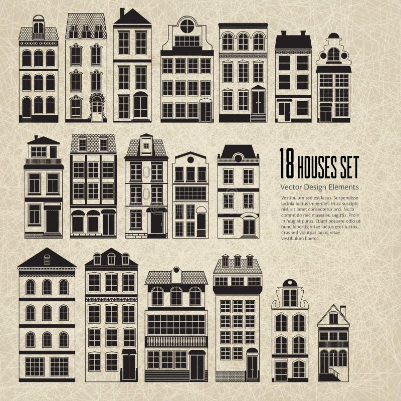 18 αναδρομικά εκλεκτής ποιότητας αστικά σπίτια πόλεων ελεύθερη απεικόνιση δικαιώματος