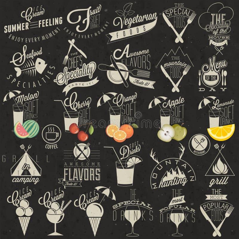 Αναδρομικά εκλεκτής ποιότητας σχέδια επιλογών εστιατορίων ύφους. διανυσματική απεικόνιση