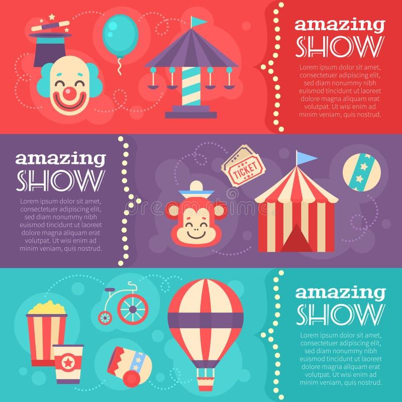 Αναδρομικά εμβλήματα τσίρκων με τα εκλεκτής ποιότητας στοιχεία φεστιβάλ ελεύθερη απεικόνιση δικαιώματος