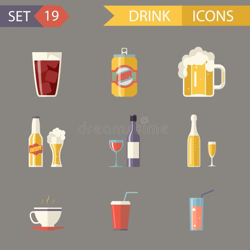Αναδρομικά επίπεδα εικονίδια ποτών κρασιού τσαγιού χυμού μπύρας οινοπνεύματος διανυσματική απεικόνιση