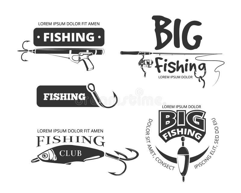 Αναδρομικά διανυσματικά διακριτικά λεσχών αλιείας, ετικέτες, λογότυπα, εμβλήματα ελεύθερη απεικόνιση δικαιώματος